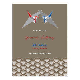 Paper Cranes Origami Scallop Wedding Save The Date Post Cards