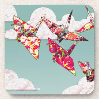 Paper Cranes Plastic Coasters