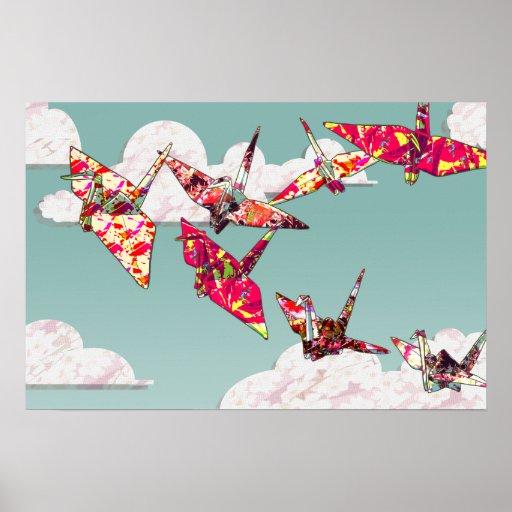 Paper Cranes Poster Print