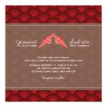 Paper Cranes Red Scallop Pattern Wedding Invite Personalized Invites