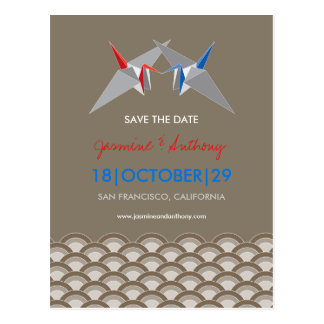 Paper Cranes Scallop Pattern Photo Save The Date Post Card