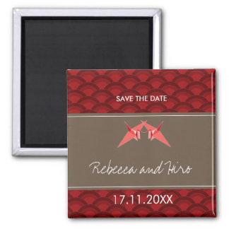 Paper Cranes Scallop Pattern Save The Date Magnet