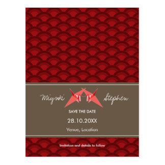 Paper Cranes Scallop Pattern Wedding Save The Date Postcard