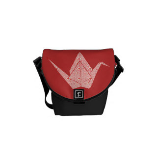 Paper cranes with red hearts and flowers pattern courier bag