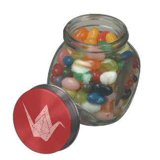 Paper cranes with red hearts and flowers pattern glass jars