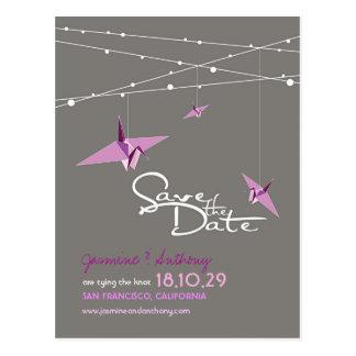 Paper Cranes Zen Fairy Lights Photo Save The Date Postcard