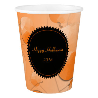 Paper Cup, 9 oz Pattern Happy Halloween Citrouille Paper Cup