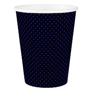 Paper Cups Dark Blue with Golden Dots