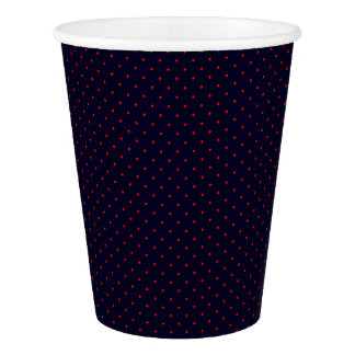 Paper Cups Dark Blue with Red Dots