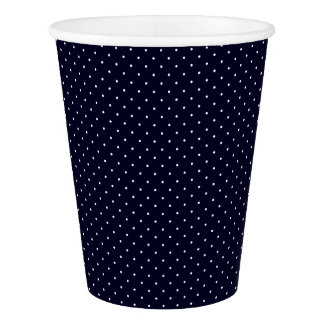 Paper Cups Dark Blue with White Dots