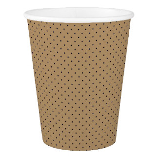Paper Cups Gold with Dark Blue Dots