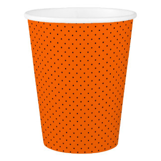 Paper Cups Orange with Dark Blue Dots