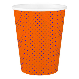 Paper Cups Orange with Royal Blue Dots