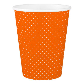 Paper Cups Orange with White Dots
