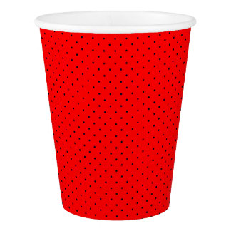 Paper Cups Red with Dark Blue Dots