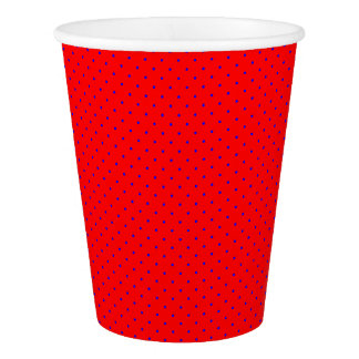 Paper Cups Red with Royal Blue Dots