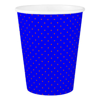 Paper Cups Royal Blue with Orange Dots