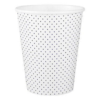Paper Cups White with Dark Blue Dots