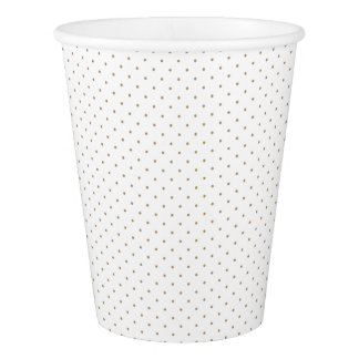 Paper Cups White with Golden Dots