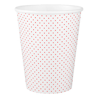 Paper Cups White with Red Dots