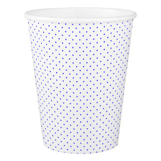Paper Cups White with Royal Blue Dots