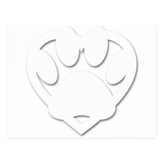 Paper Cut Dog Paw And Heart Shape Postcard