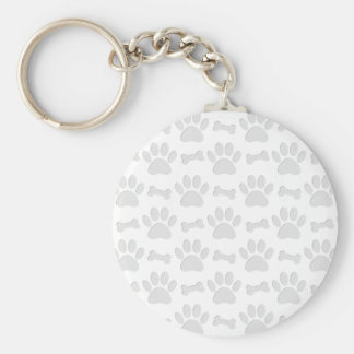 Paper Cut Dog Paws And Bones Pattern Keychain