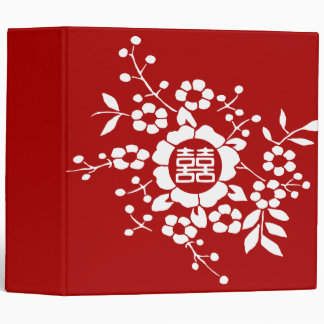 Paper Cut Flowers • Double Happiness 3 Ring Binder