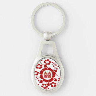 Paper Cut Flowers • Double Happiness Keychain