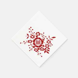 Paper Cut Flowers • Double Happiness Napkin
