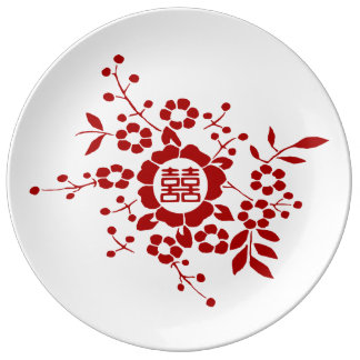 Paper Cut Flowers • Double Happiness Plate