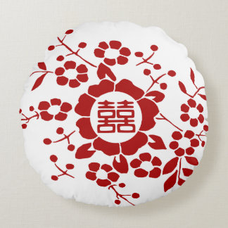 Paper Cut Flowers • Double Happiness Round Pillow