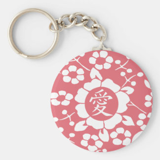 Paper Cut Flowers • Lovely Pink Basic Round Button Keychain