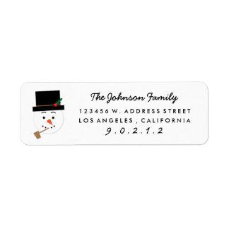 Paper Cut Snowman Illustration Address  Sticker Labels