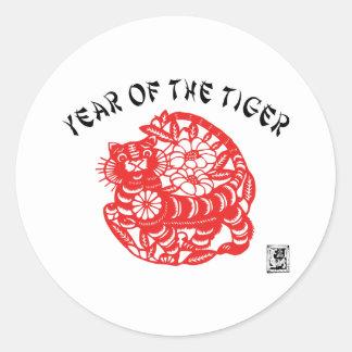 Paper Cut Tiger Classic Round Sticker