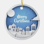 Paper Cutout Winter Scene Ceramic Ornament