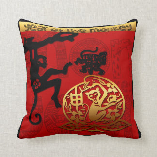 Paper Cutting  Chinese New Year of The Monkey 2016 Throw Pillow