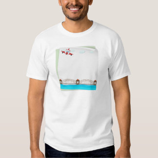 Paper design with airplane and bridge tee shirt