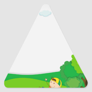 Paper design with boy in the park triangle sticker