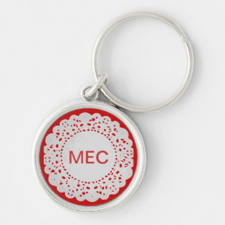 Paper Doilies Silver-Colored Round Keychain