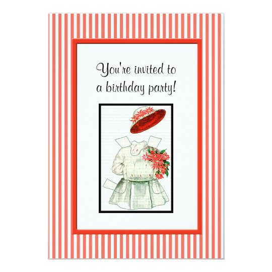 Paper Doll Birthday Party Card