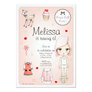 Paper Doll Birthday Party Invitation