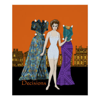 Paper Doll Decisions - Which Dress to Wear Poster