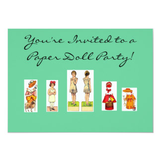 Paper Doll Party Invitations