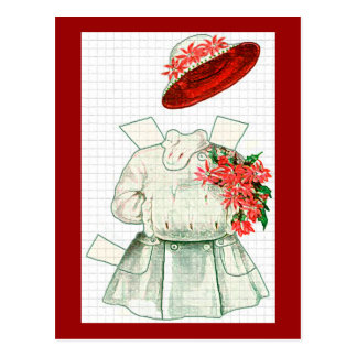 Paper Doll Red And White Costume Postcard