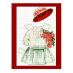 Paper Doll Red And White Costume Postcards
