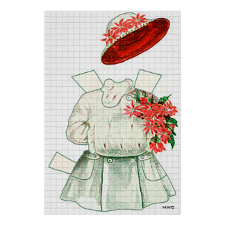 Paper Doll Red And White Costume Posters