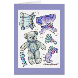 Paper Doll Teddy Blank Note Greeting Card