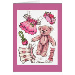 Paper Doll Teddy Blank Note Stationery Note Card