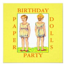 Paper Dolls Birthday Party Invitations